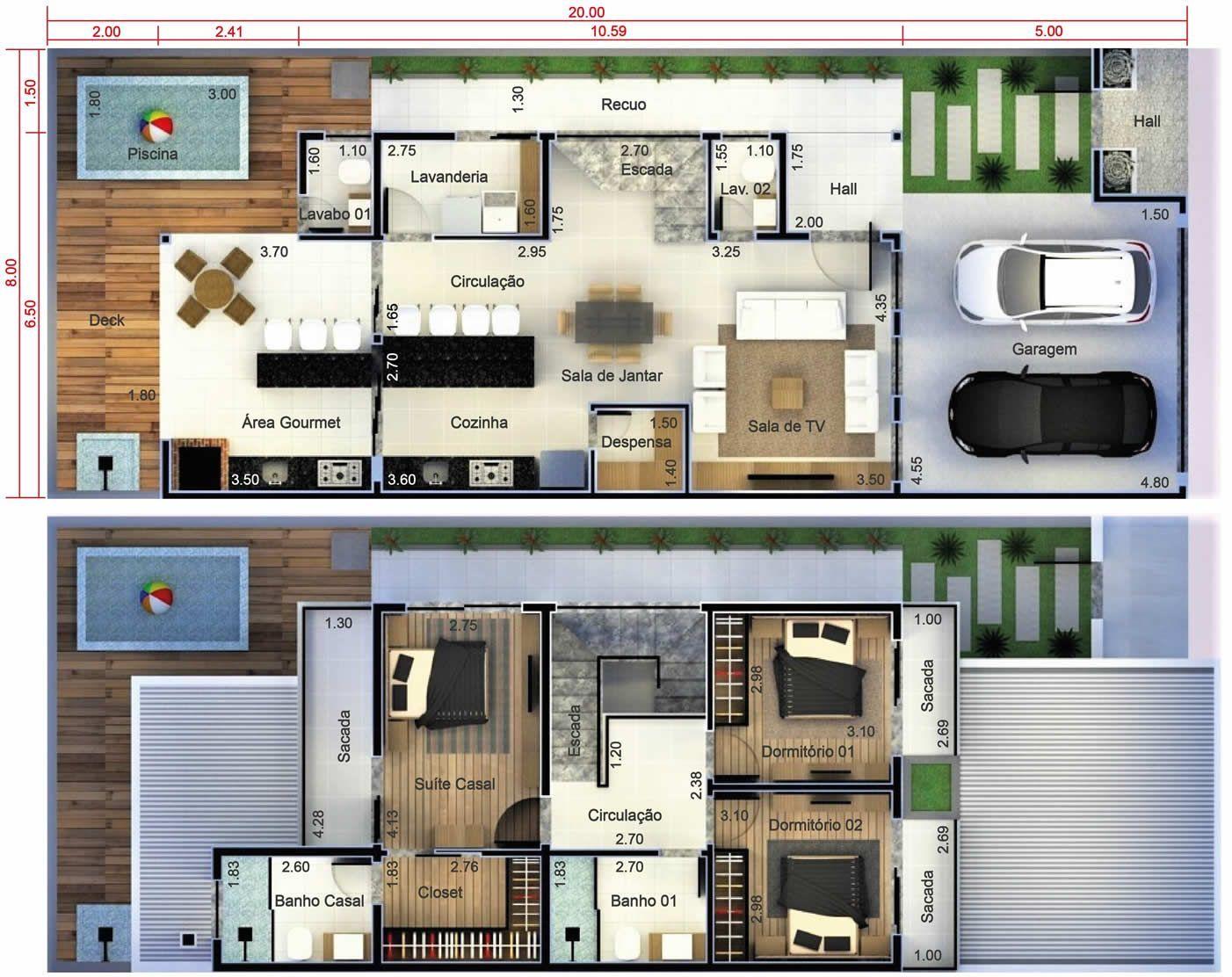 Plano de casa con 2 dormitorios y 1 suite. Plano para