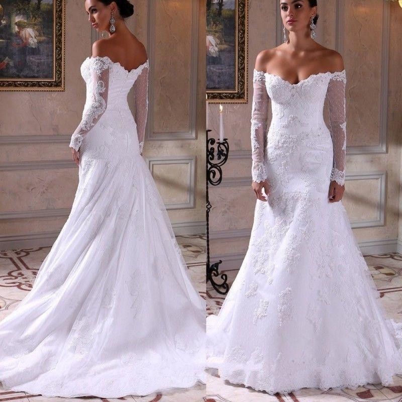 Off Shoulder Mermaid Long Sleeves White Ivory Wedding Dress Bridal Gown Ebay