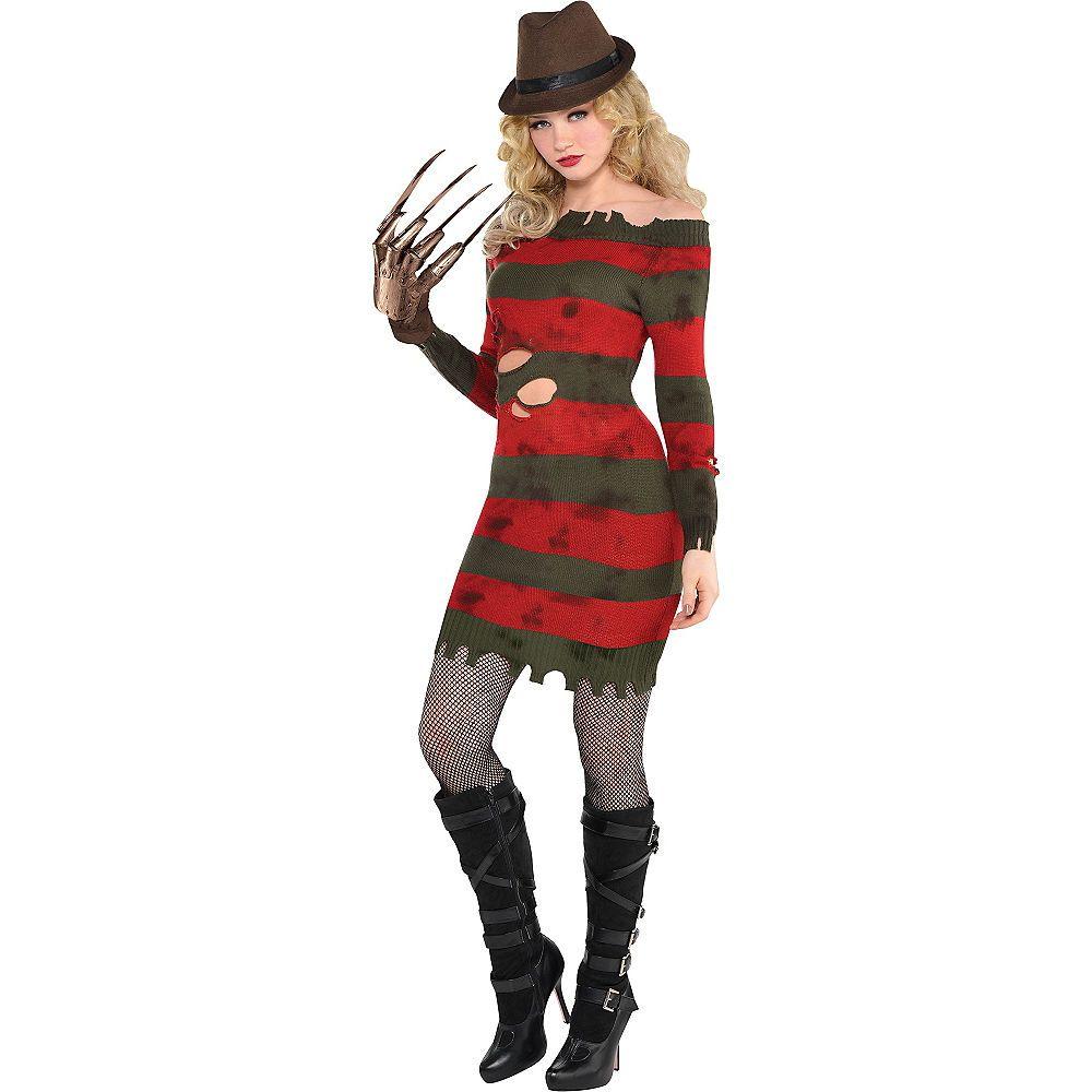Halloween Fancy Dress Ladies Freddy Nightmare Elm Street Jumper Red And Green