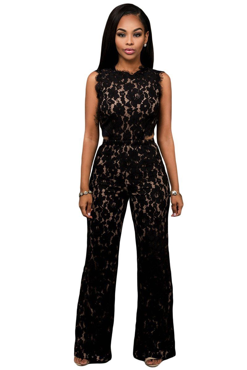 e0814095f3e25 Chicloth Black Lace Nude Illusion Back Cutout Jumpsuit