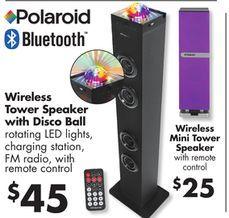 Polaroid Bluetooth Mini Tower Speaker With Remote From Big Lots 25 00 Tower Speakers Mini Big Lots