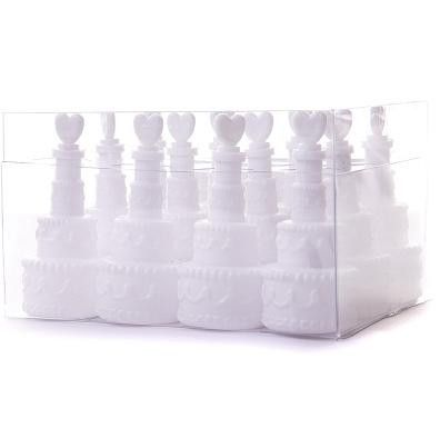 White Wedding Cake Celebration Bubbles With Heart Lid Pack Of 12