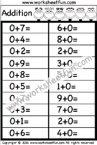 Adding 0 – Adding Zero – One Worksheet | nadya's worksheet | Math ...