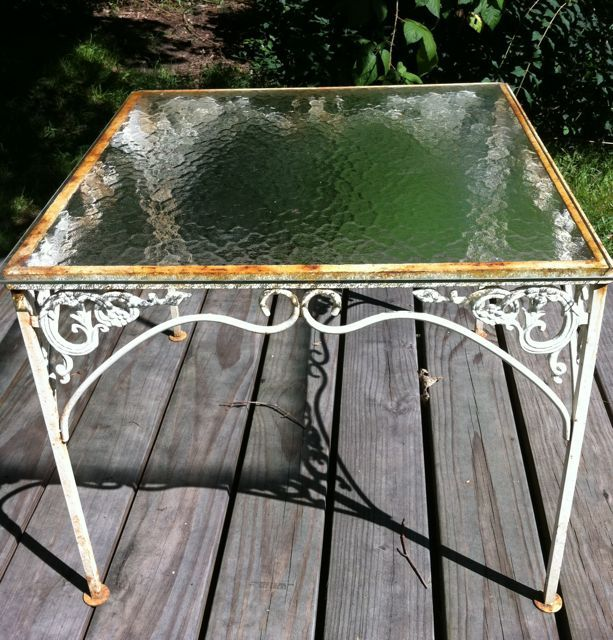 Up Cycling Glass Table Before