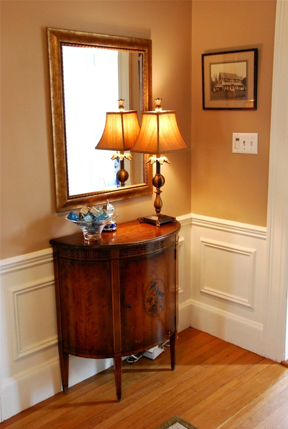 Furniture. Small Foyer Table Ideas, Gold Bulb Table Lamp, Mirror. Remodel  And