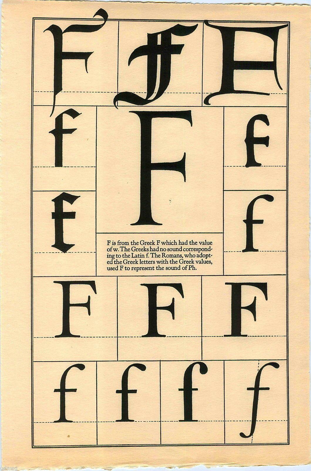 Book Print Letter F Greek Roman Alphabet Design