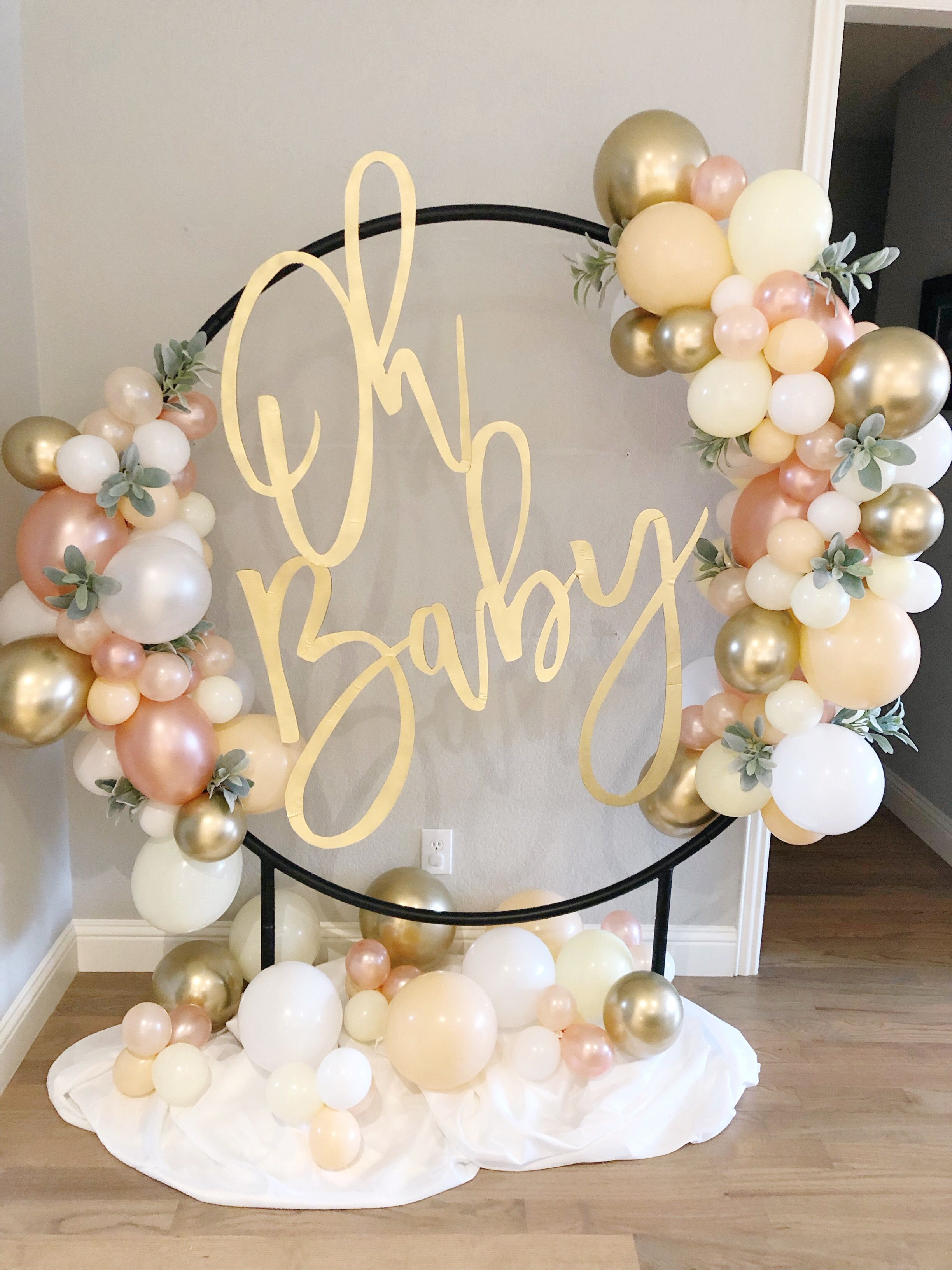 Gold Baby Shower Decorations Pastel /& Gold Hello Baby Balloon Baby Shower Balloons Gold Baby Shower Balloons Gold Oh Baby Decor