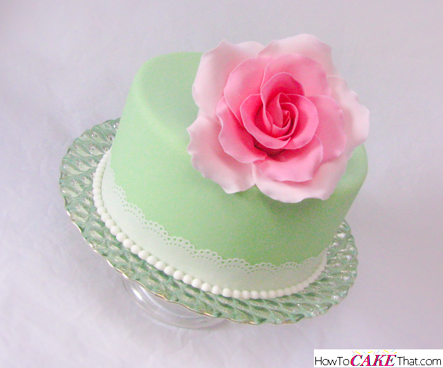Mint Green Cake With Pink Rose And Pearls And Lace Trim Learn How