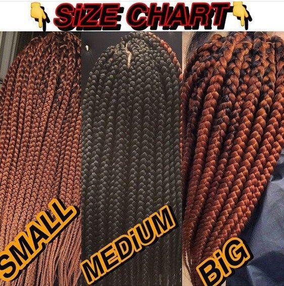 Chart Showing Size Of Braids By Devine Studio Birmingham Hair Salon City Centre