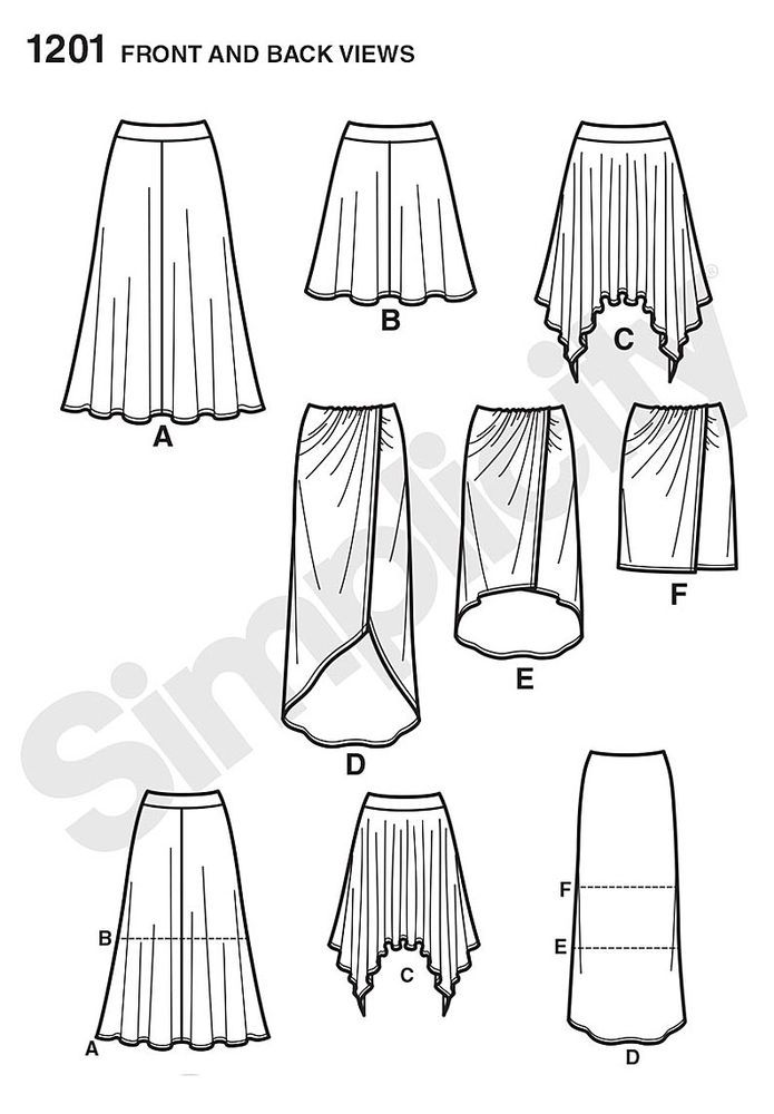 Simplicity sewing pattern. Pull-on knit skirts: faux wrap