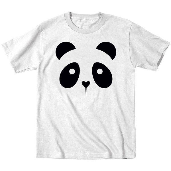 Mokuyobi Threads White Panda Face Tee (13 CAD) ❤ liked on Polyvore featuring tops, t-shirts, white tee, graphic t shirts, graphic design t shirts, white t shirt and panda t shirt