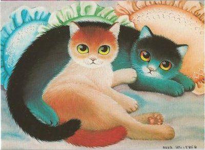 Cat Postcard Anna Hollerer: http://www.stationeryheaven.nl/singlepostcards