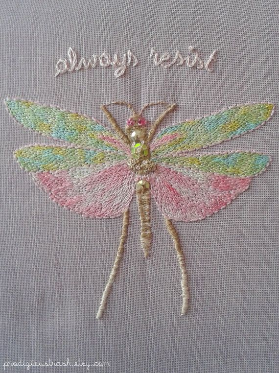 Always Resist Hand Embroidered Grasshopper Patch by ProdigiousTrash #embroidery #patches #patchgame #handembroidery #resist