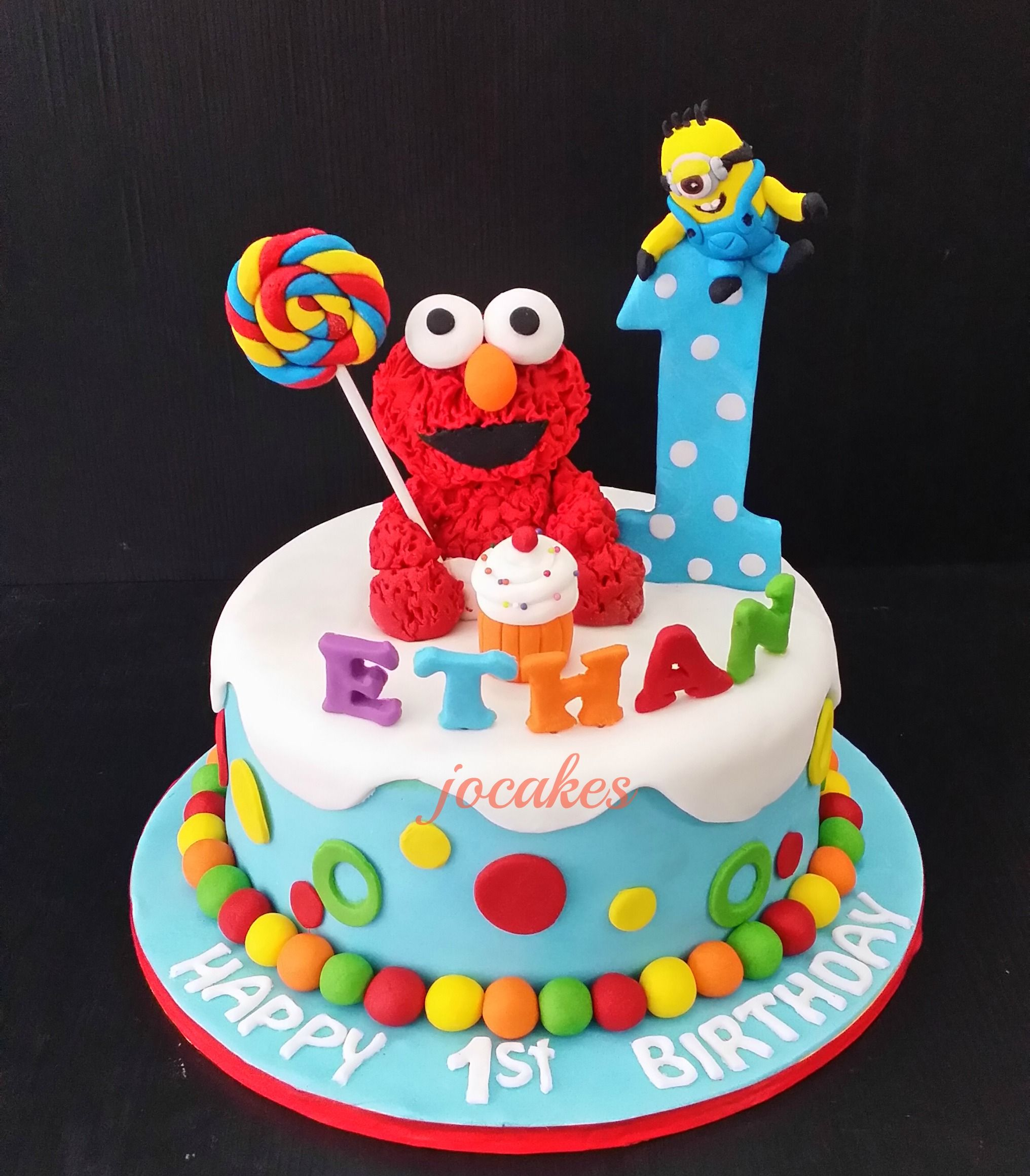 Elmo cake and cookies for Ethans 1st birthday Description from