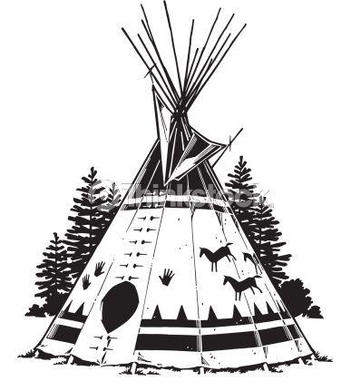 Native American Teepee Symbols Teepee Grouped Elements Vector Art