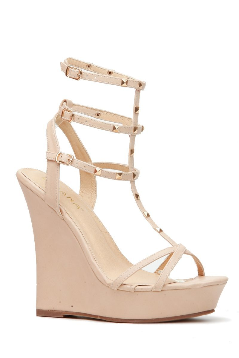 3a4529781b36 Nude Faux Leather Studded Ankle Strap Wedges   Cicihot Wedges Shoes Store Wedge  Shoes