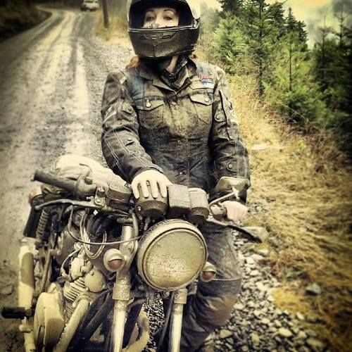 Stormie takes her XS650 off-roading in the Pacific Northwest mud.