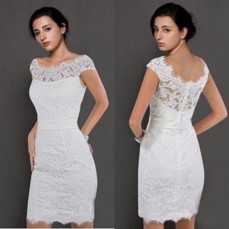 Simple Short Jewel Neckline Sheath Wedding Dresses 2015 Summer Beach Lace Short Sleeves Sheer Wedding Dress Simple Wedding Dress Short Short Lace Wedding Dress