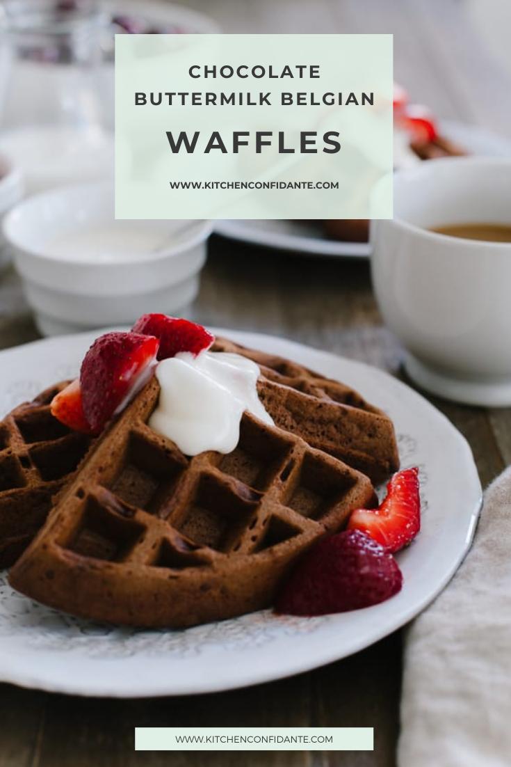 Chocolate Buttermilk Belgian Waffles Kitchen Confidante In 2020 Belgium Waffle Recipe Waffle Toppings Dessert Waffles