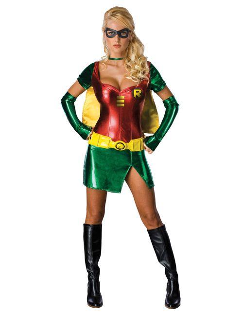 Robin Superheldin Comic Damenkostum Gelb Grun Rot Costumes