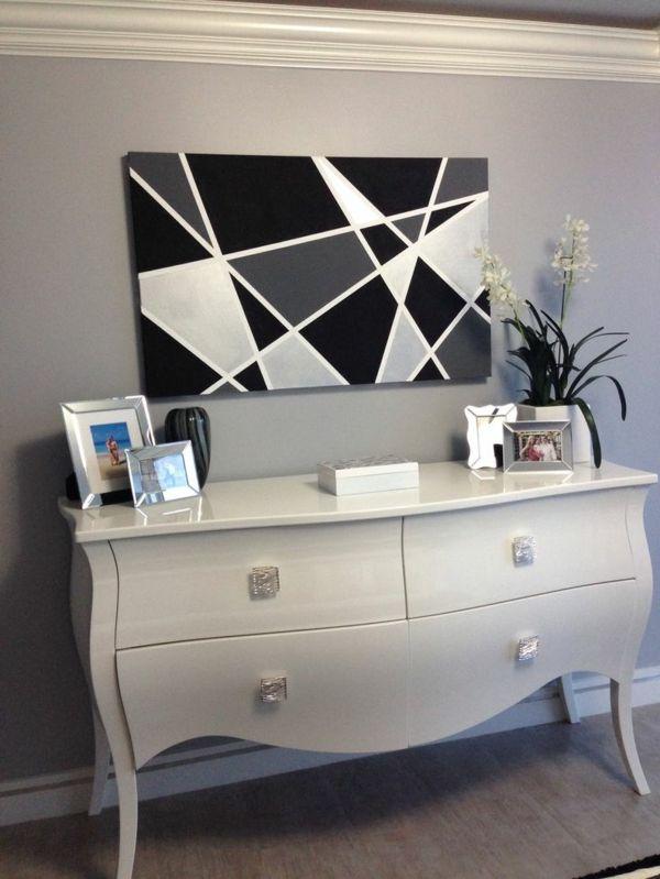 schwarz wei diy leinwand druck geometrisch formen. Black Bedroom Furniture Sets. Home Design Ideas