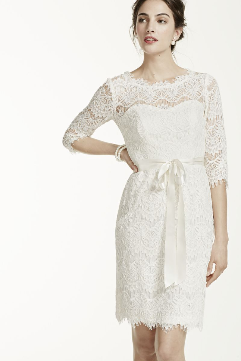 Long sleeve casual wedding dress  Short Lace Dress with  Sleeves Style XS  Bridal Gown