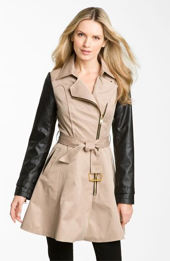 bebe Mixed Media Trench Coat available at #Nordstrom