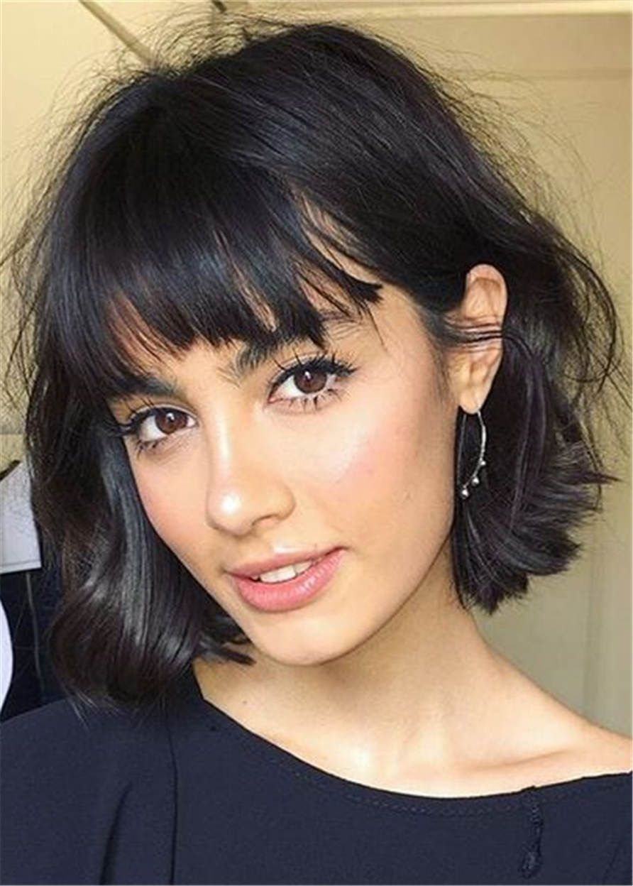Ericdress Short Bob Hairstyles Straight Human Hair With Bangs Capless Wigs 8 Inches Thick Hair Styles Hair Styles Bob Haircut With Bangs