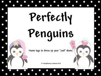 FREEBIE!! Within this product you will find several sets of name tags with a black and white, polka dot border, as well as cute penguins. You'll find 3 sets with colored accents and 3 sets with black line images.
