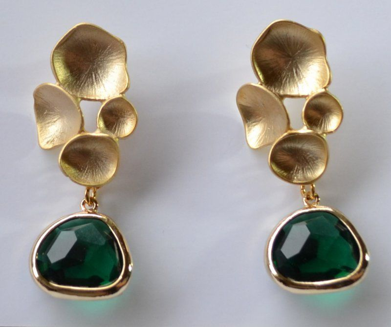 Gold studs,gold leaf studs with a beautiful green framed facet ...