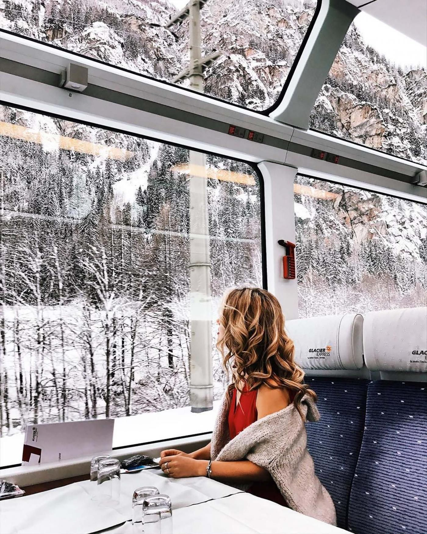 We Can Hardly Believe This Train Ride Through the Swiss Alps Is Real