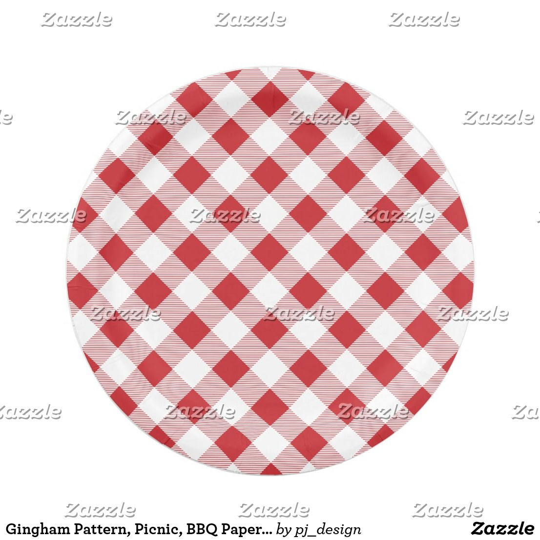 Gingham Pattern Picnic BBQ Paper Plate  sc 1 st  Pinterest & Gingham Pattern Picnic BBQ Paper Plate   Custom BBQ Gifts ...