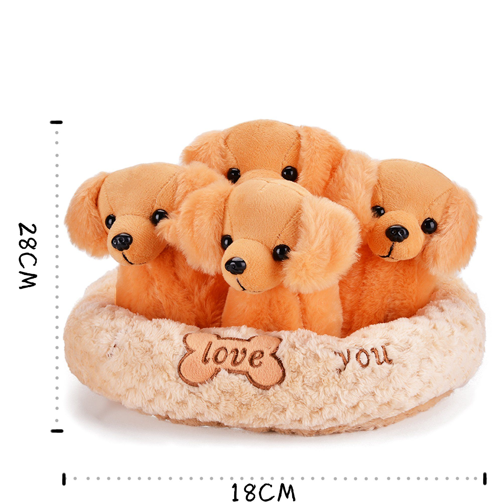 Gloveleya Litter Of Four Puppies Plush Dog Family Stuffed Animal Toys With Kennel Pet Brown Learn More By Visi Teddy Bear Stuffed Animal Plush Dog Pet Toys