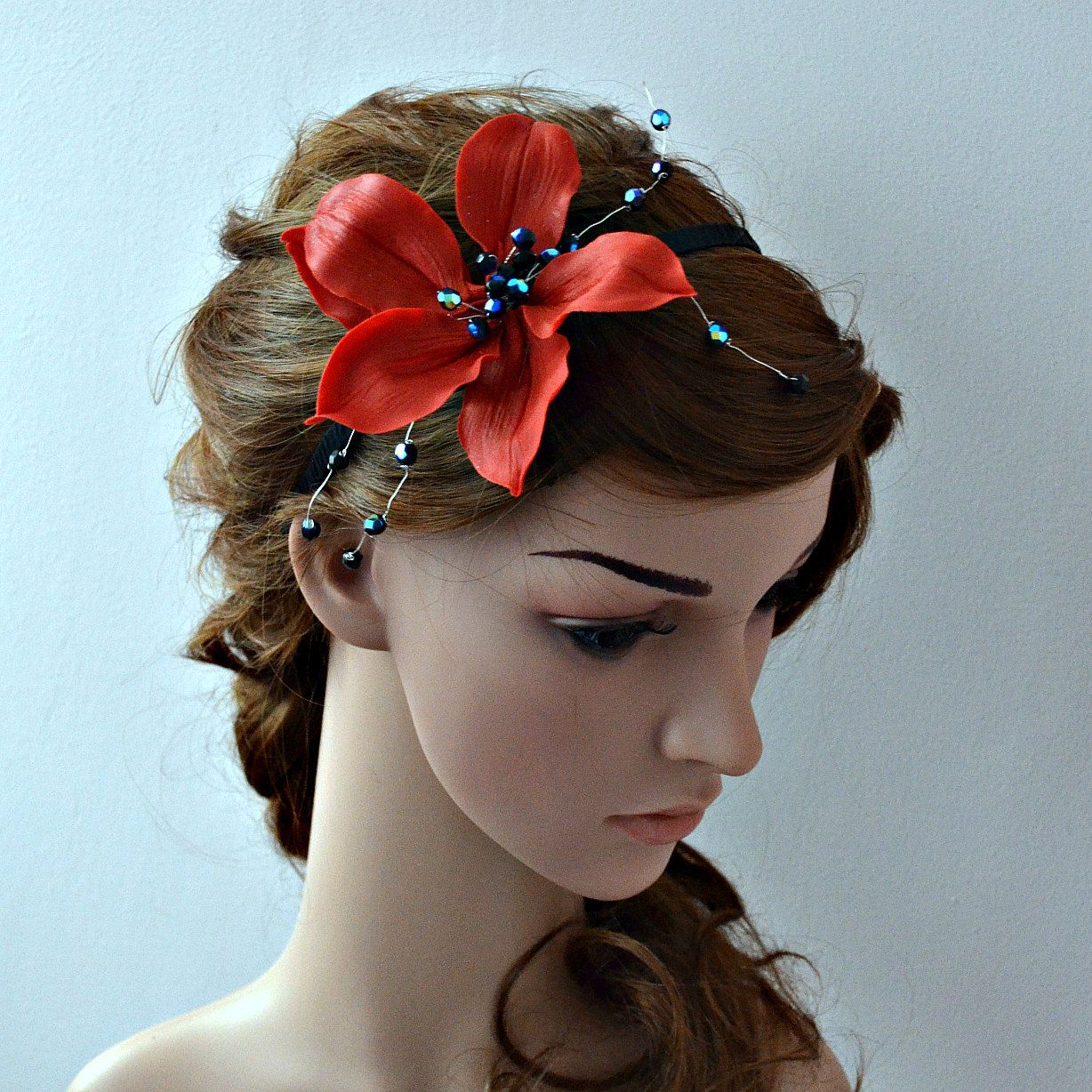 lily flower headband, rockabilly hair accessories, black end red