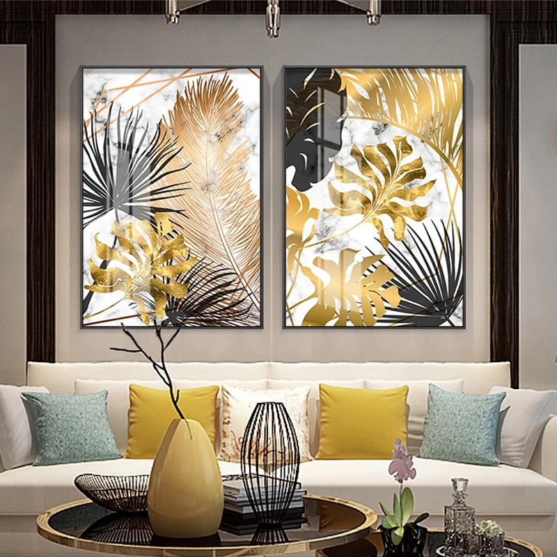Golden Leaf Canvas Wall Art Painting Living Room Pictures Tropical Wall Art Decor