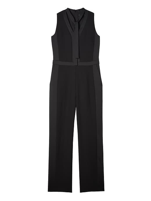 ac095c60176 Banana Republic Womens Tie-Neck Tuxedo Jumpsuit Black
