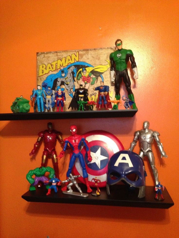 Super hero bedroom- shelves. Oh I love the idea of shelves for the toys to sit on! - visit to grab an unforgettable cool 3D Super Hero T-Shirt!