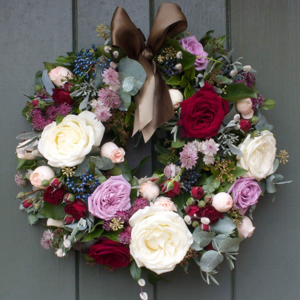 This woodland door wreath has a mixture of luxury scented