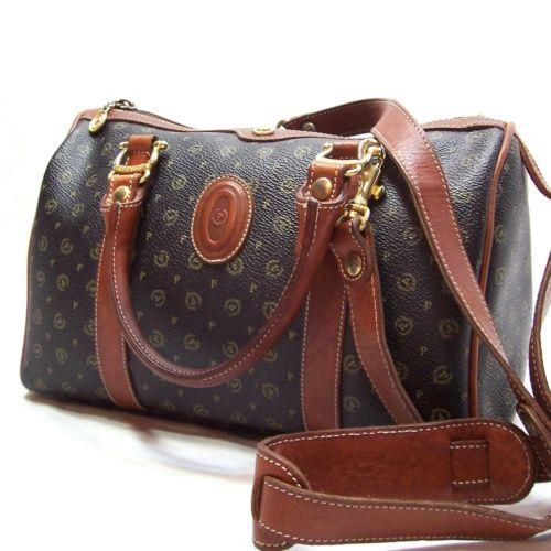 Pollini Black Monogram Leather Handbag Satchel Vtg Designer Purse Shoulder Italy Sold Purses