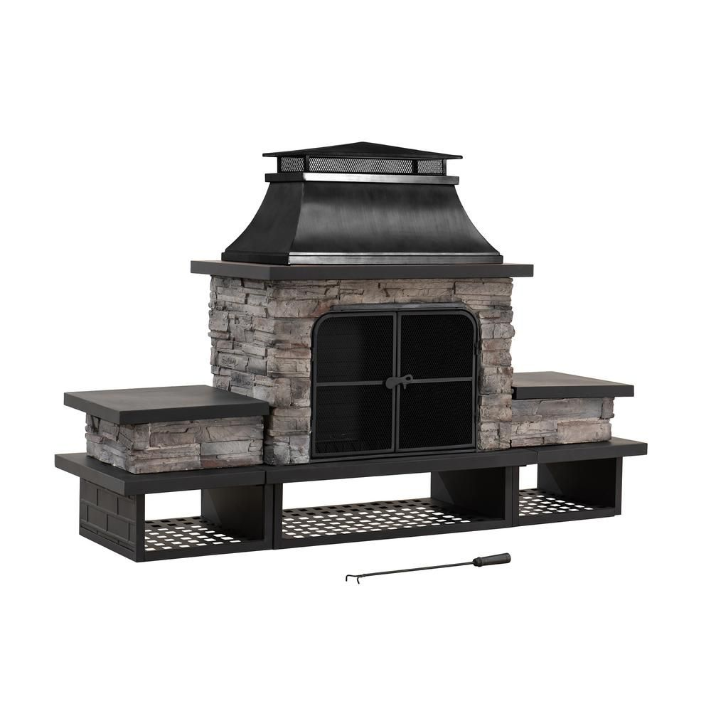 Sunjoy Maryland Bel Aire 48 03 In Black Fireplace With Faux Stack Stone Finish 169490 In 2020 Outdoor Wood Burning Fireplace Wood Patio Patio Gazebo