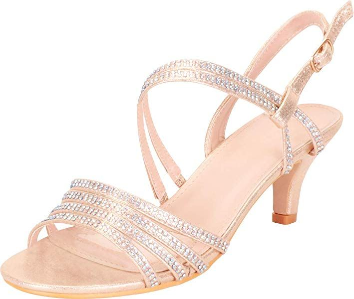 68cc7146a Cambridge Select Women s Open Toe Strappy Crystal Rhinestone Mid Kitten  Heel Sandal