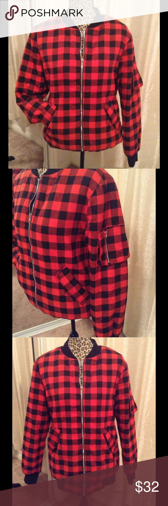 PlaidFlannel Bomber Jacket Nwt Sz medium very warm Jackets