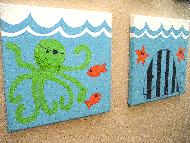 Bathroom wall art sea - Art