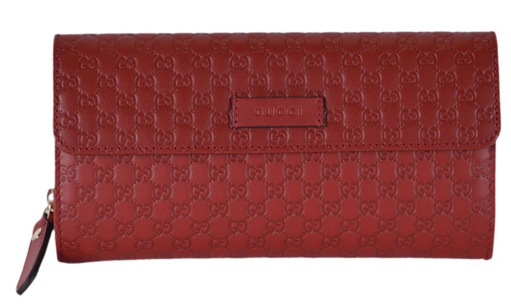 51cf55dcf4f New Gucci Women s 449364 Red Leather Micro GG Continental Bifold Wallet  W Zip  Gucci  Bifold
