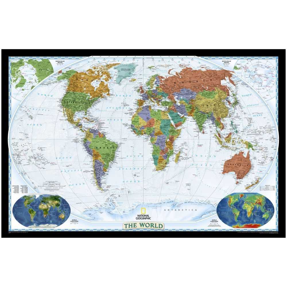 World political map bright colored enlarged and laminated national geographic store publicscrutiny Images