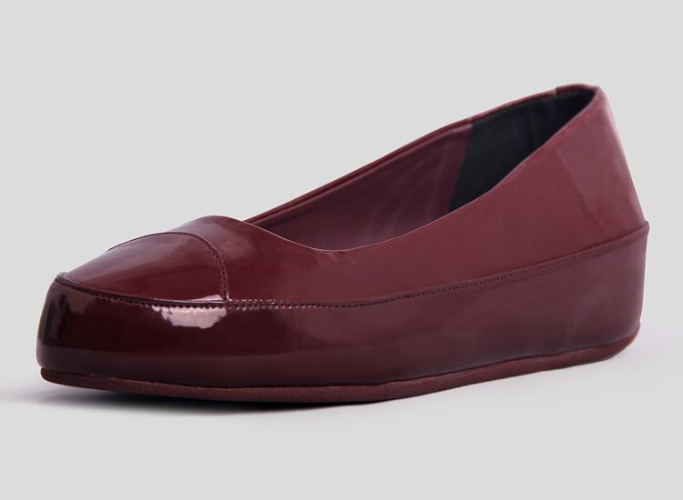 FitFlop Due Patent Ballet Flat Shoes Wine Red For Cheap, Discount Fitflop  Womens Shoes Sale