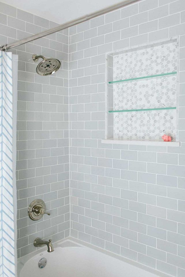 Bath Shower Tiles  Bath Shower with gray subway tiles  Bath Shower Tiling  Ideas. Large tile shower shelves at end of bathtub  Subway tile