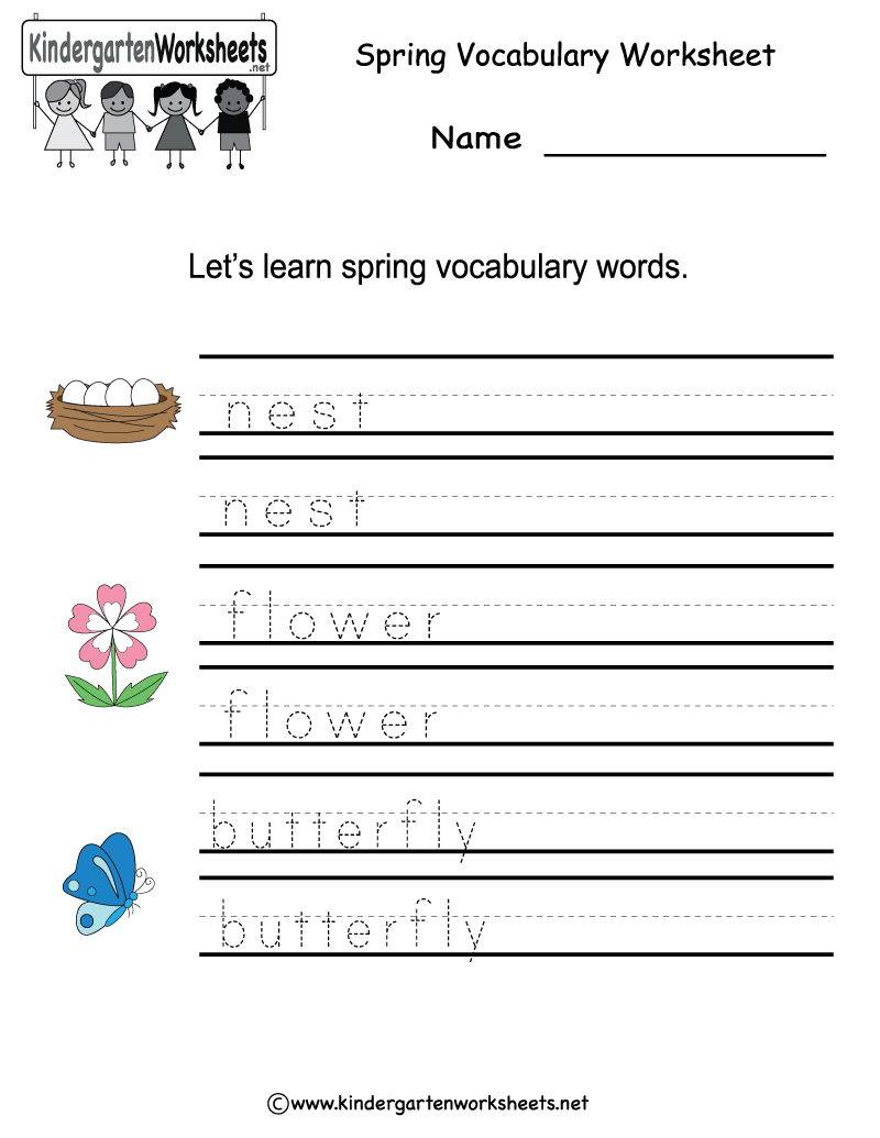 Kindergarten Spring Vocabulary Worksheet Printable | Spring ...