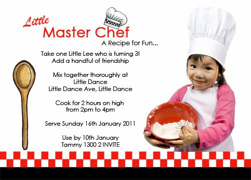 Master Chef Inspired Kids Birthday Invitations – Kids Cooking Party Invitations