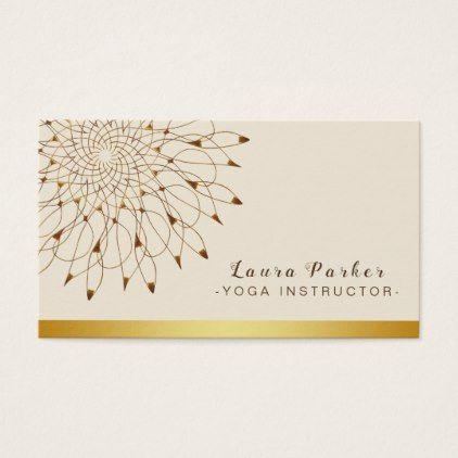 Yoga instructor classic mandala lotus floral business card colourmoves
